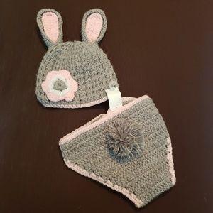 Handmade newborn bunny outfit